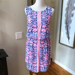 Lilly Pulitzer pink blue floral knit dress large